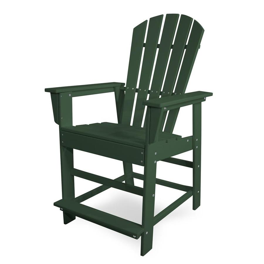 POLYWOOD South Beach Green Plastic Patio Barstool Chair