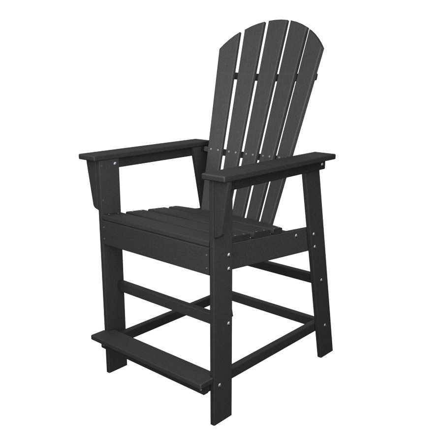 POLYWOOD South Beach Slate Grey Plastic Patio Barstool Chair