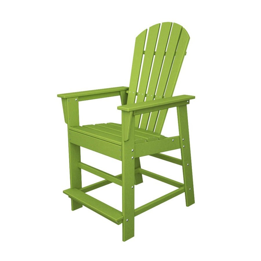 POLYWOOD South Beach Lime Plastic Patio Barstool Chair