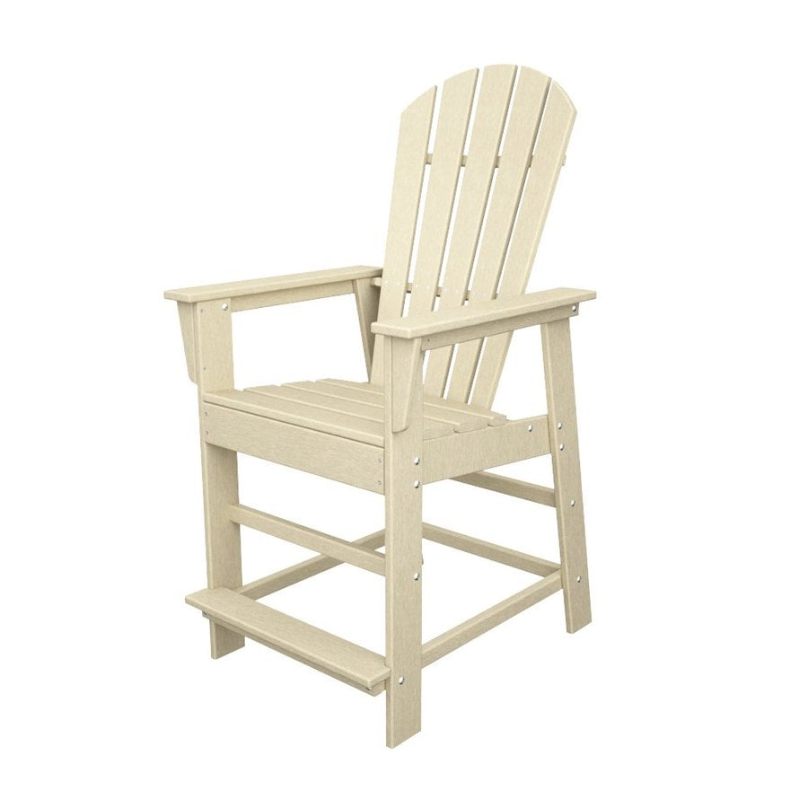 POLYWOOD South Beach Sand Plastic Patio Barstool Chair