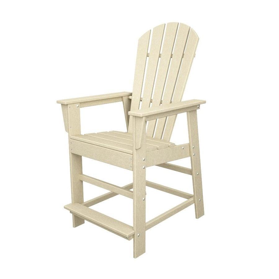 POLYWOOD South Beach Sand Plastic Patio Bar Stool Chair