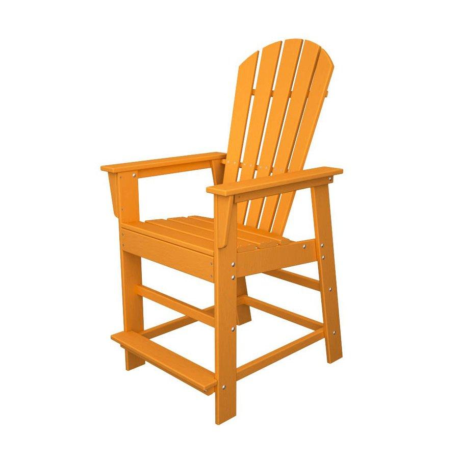 POLYWOOD South Beach Tangerine Plastic Patio Barstool Chair