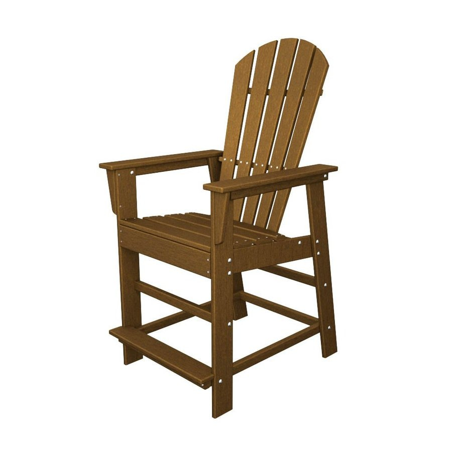 POLYWOOD South Beach Teak Plastic Patio Bar Stool Chair