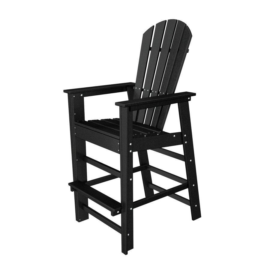 POLYWOOD South Beach Black Plastic Patio Barstool Chair