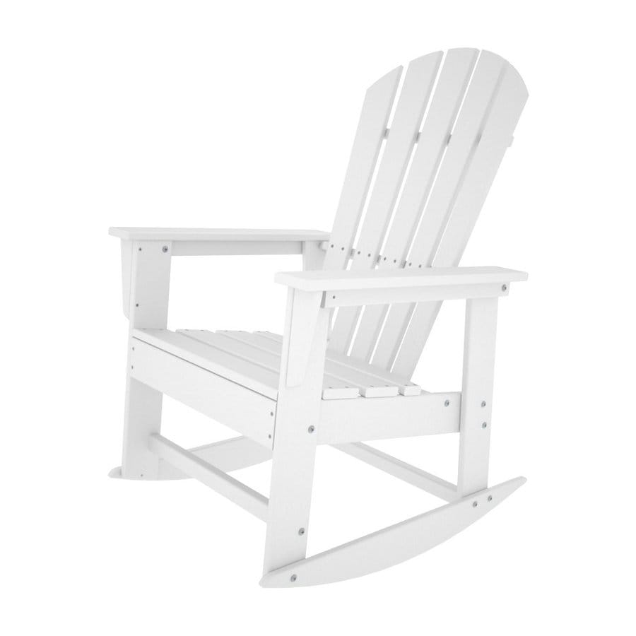 shop polywood south beach white recycled plastic rocking casual adirondack chair at. Black Bedroom Furniture Sets. Home Design Ideas