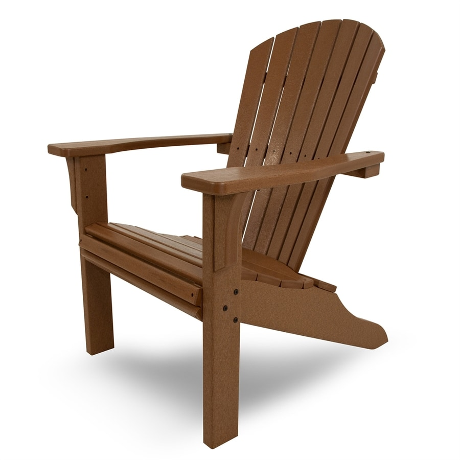 POLYWOOD Seashell Teak Finish Plastic Adirondack Chair