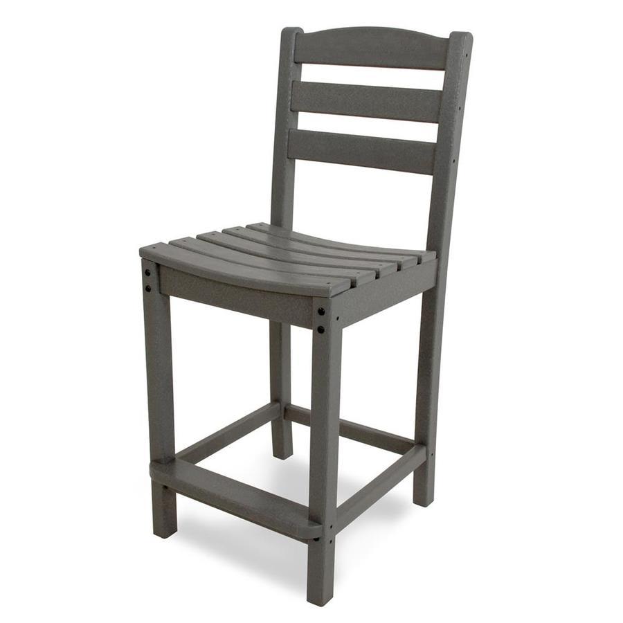 POLYWOOD La Casa Cafe Slate Grey Plastic Patio Barstool Chair