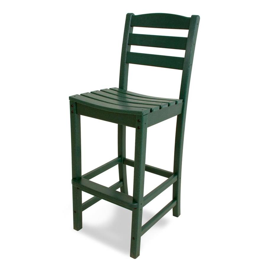 POLYWOOD La Casa Cafe Green Plastic Patio Barstool Chair