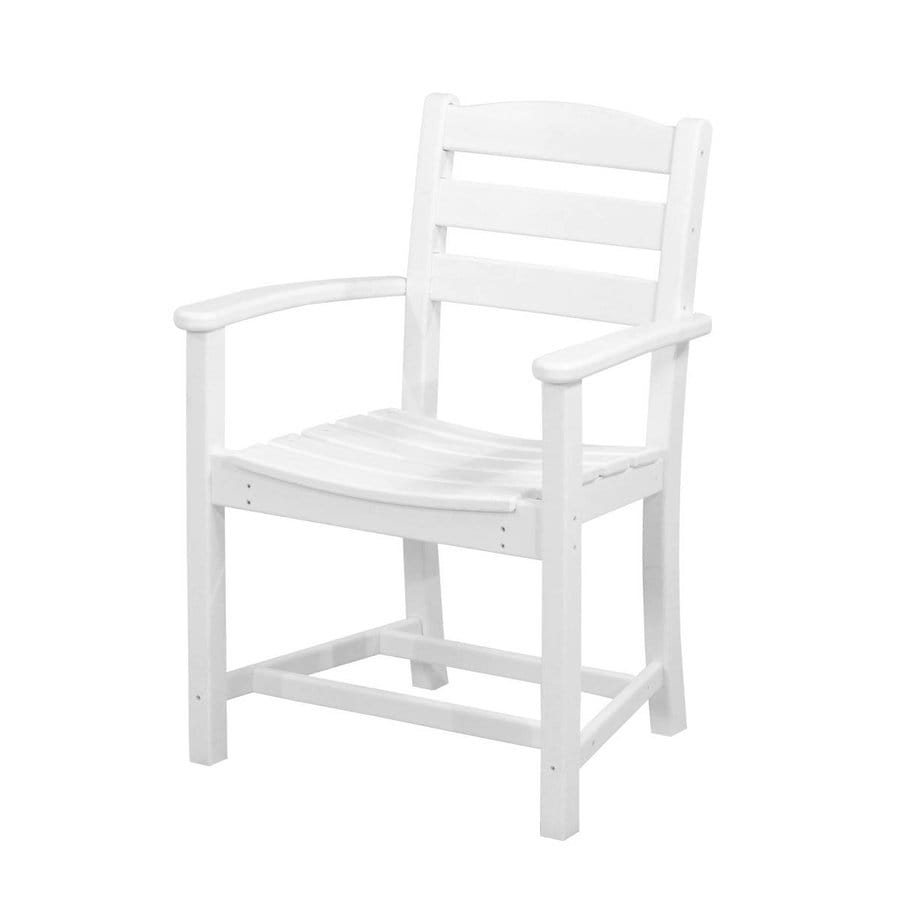 Shop polywood la casa cafe white plastic patio dining for White plastic dining chair