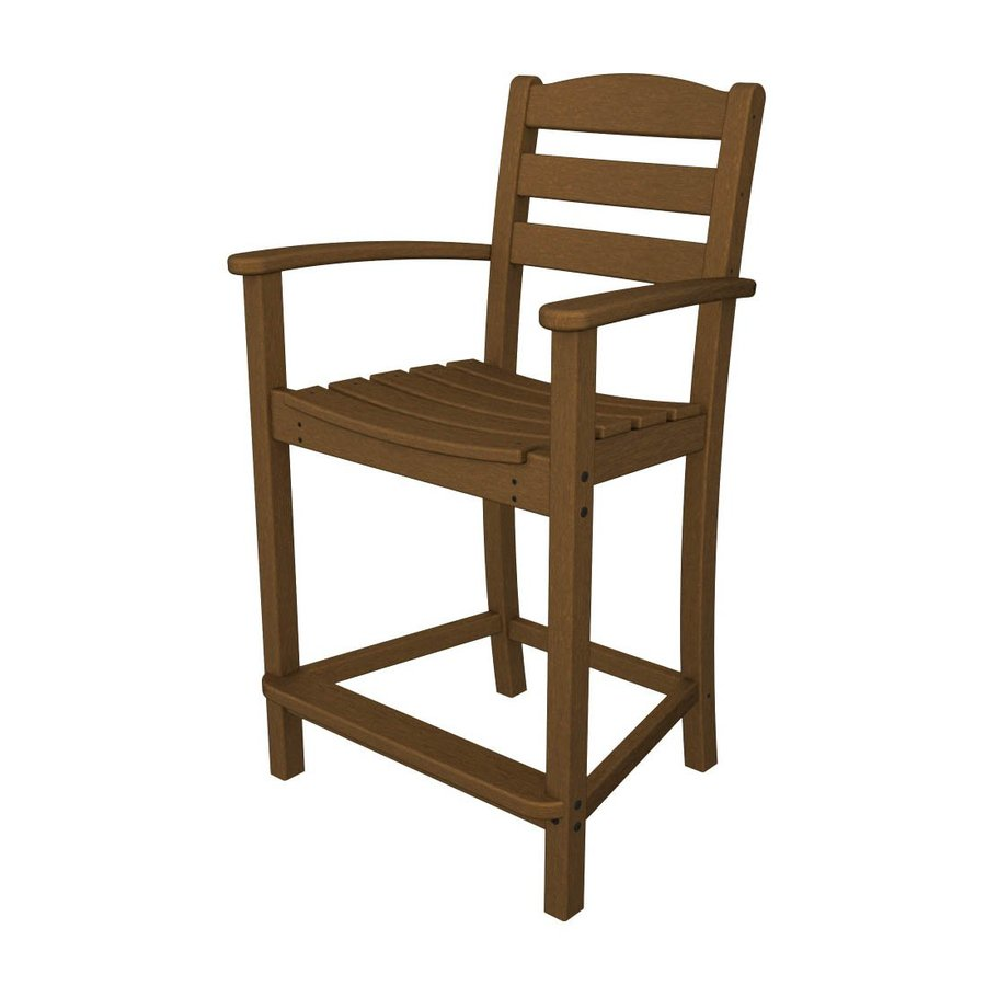 POLYWOOD La Casa Cafe Teak Plastic Patio Barstool Chair