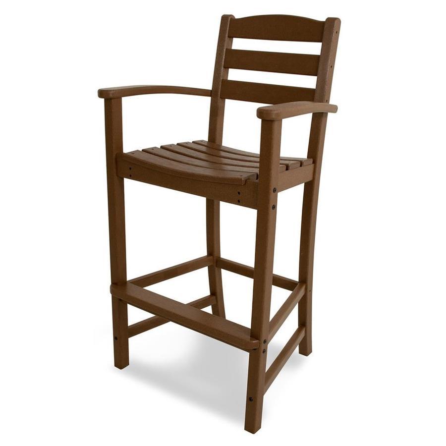 POLYWOOD La Casa Cafe Teak Plastic Patio Barstool Chair