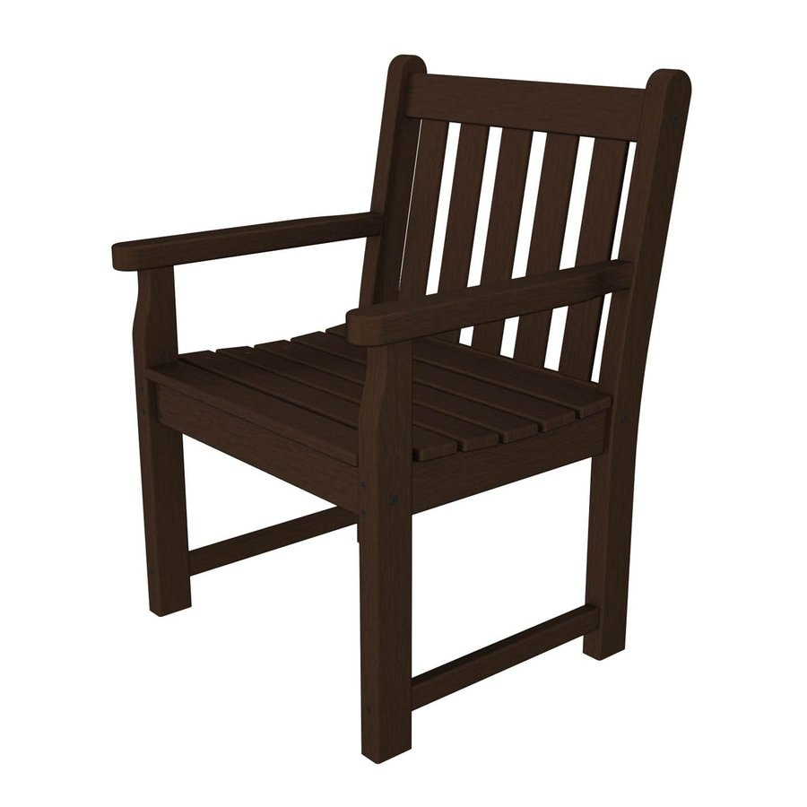 POLYWOOD Traditional Garden Mahogany Plastic Patio Conversation Chair