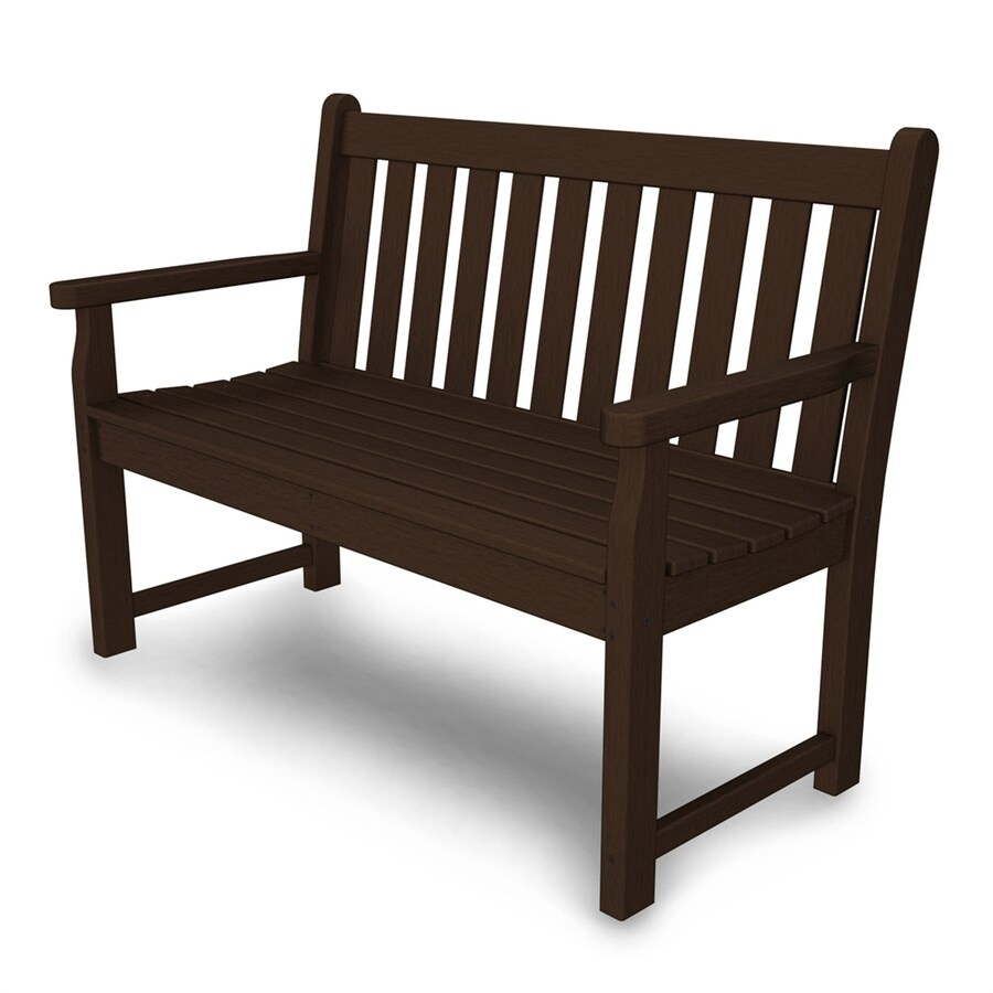 POLYWOOD Traditional Garden 24.25-in W x 47.5-in L Mahogany Plastic Patio Bench