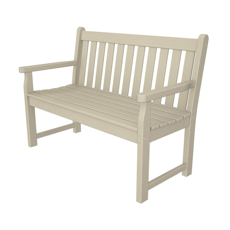 POLYWOOD Traditional Garden 24.25-in W x 47.5-in L Sand Plastic Patio Bench
