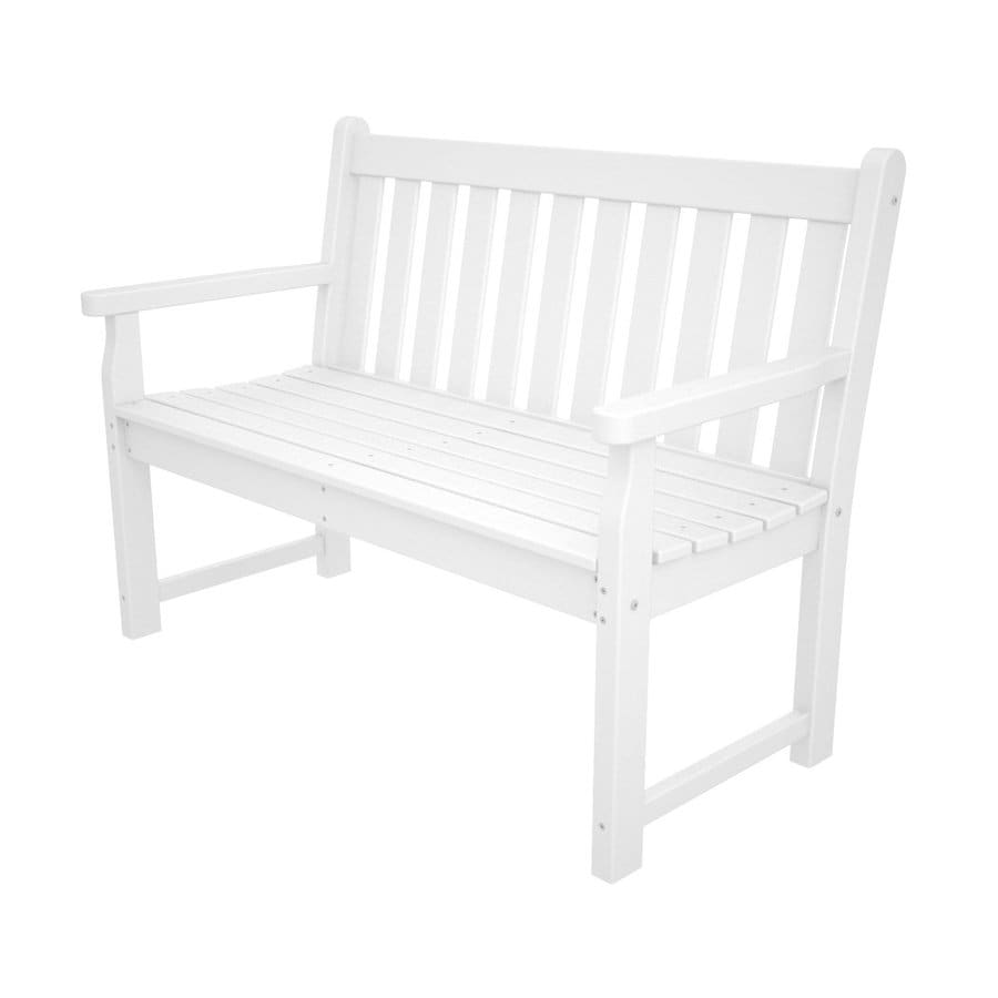 POLYWOOD Traditional Garden 24.25-in W x 47.5-in L White Plastic Patio Bench