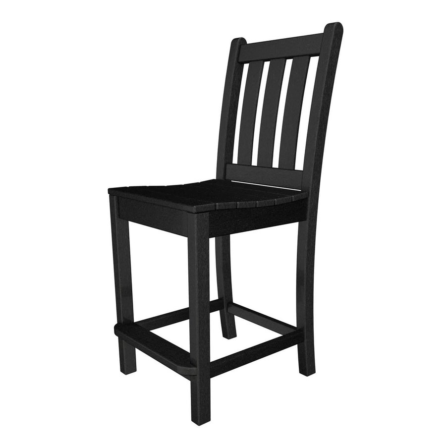 POLYWOOD Traditional Garden Black Plastic Patio Bar Stool Chair