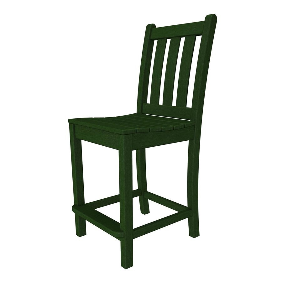 POLYWOOD Traditional Garden Green Plastic Patio Bar Stool Chair