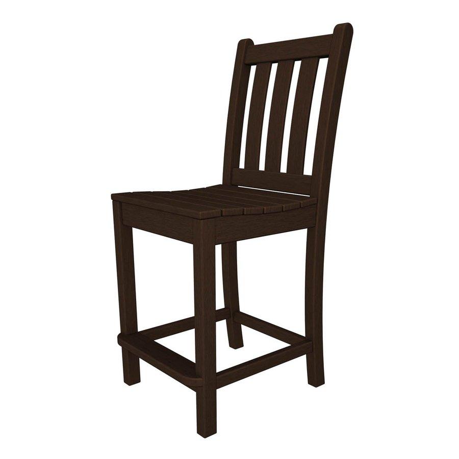 POLYWOOD Traditional Garden Mahogany Plastic Patio Barstool Chair