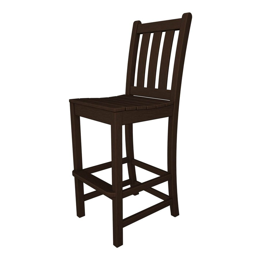 POLYWOOD Traditional Garden Mahogany Plastic Patio Bar Stool Chair