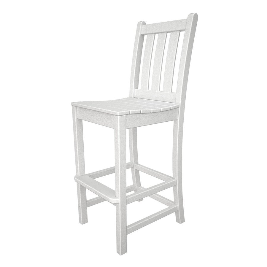 POLYWOOD Traditional Garden White Plastic Patio Barstool Chair