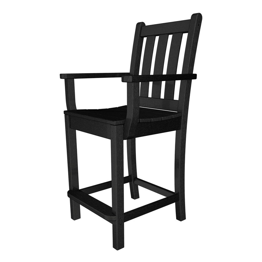 POLYWOOD Traditional Garden Black Plastic Patio Barstool Chair