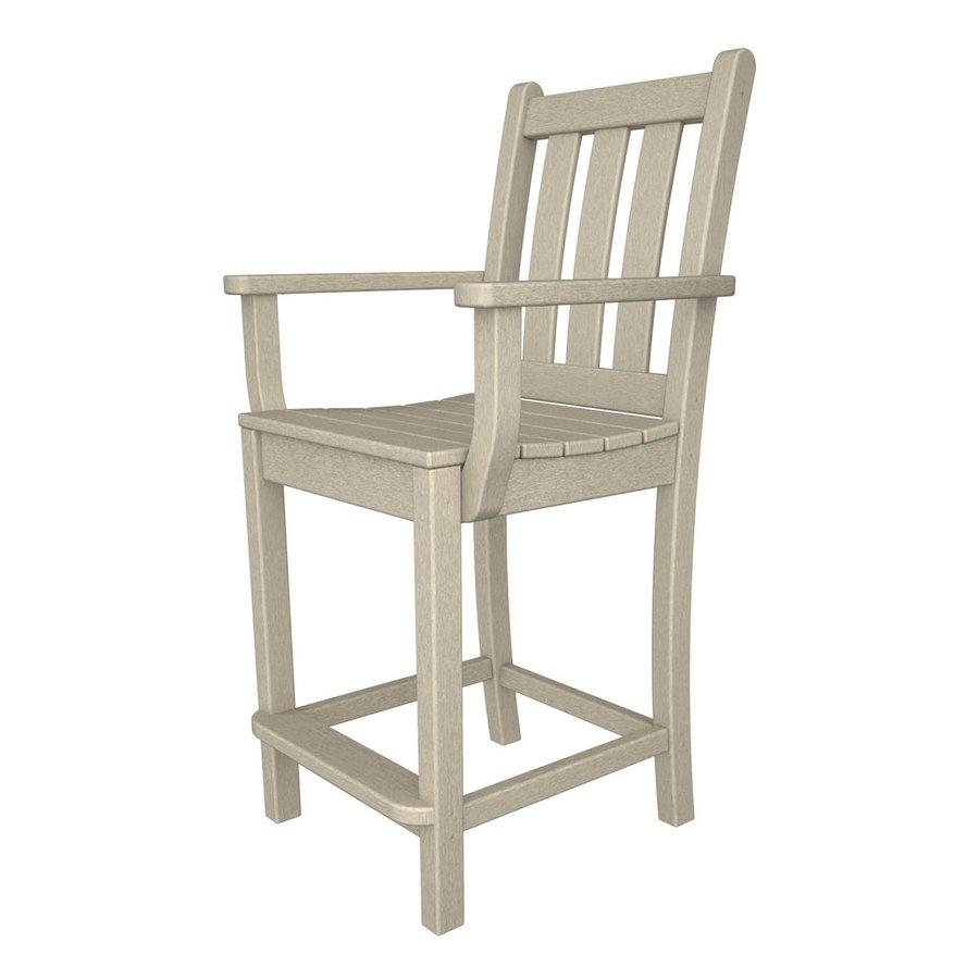 POLYWOOD Traditional Garden Sand Plastic Patio Barstool Chair