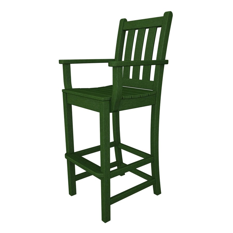 POLYWOOD Traditional Garden Green Plastic Patio Barstool Chair