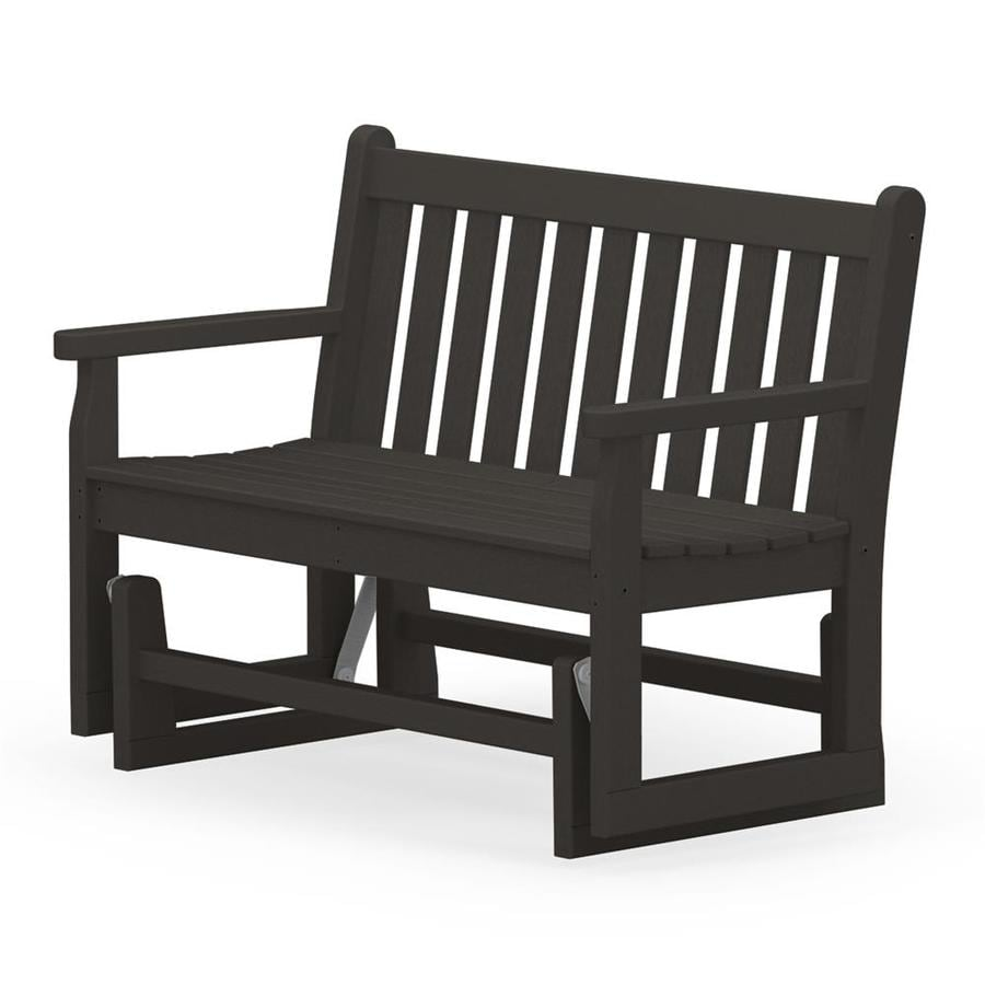 POLYWOOD Traditional Garden 24.25-in W x 47.5-in L Black Plastic Patio Bench