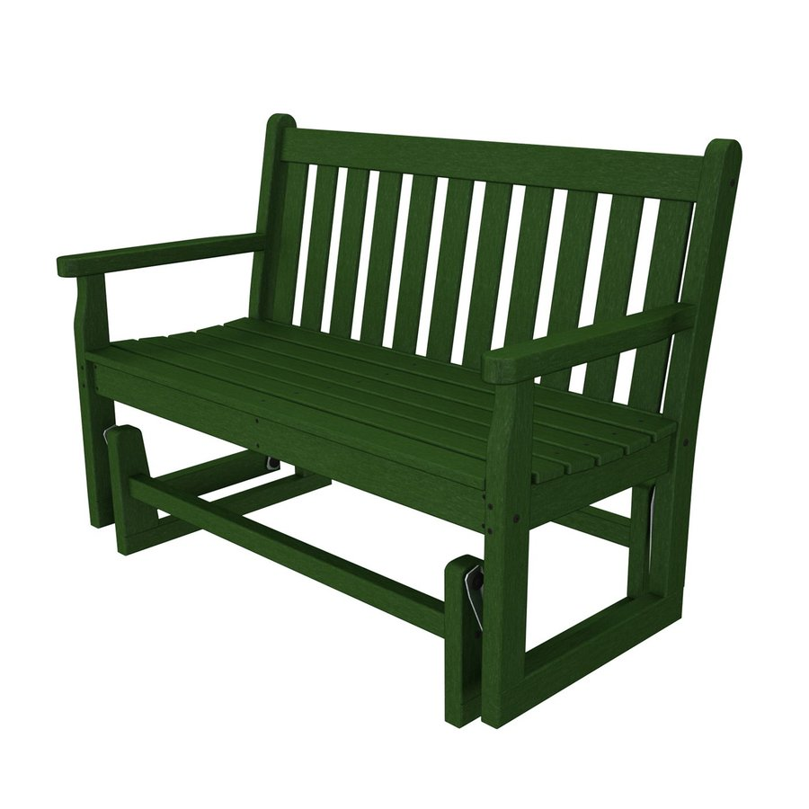 POLYWOOD Traditional Garden 24.25-in W x 47.5-in L Green Plastic Patio Bench