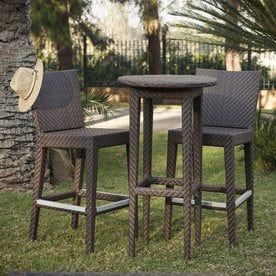 Hospitality Rattan Soho 3 Piece Brown Wood Frame Wicker Patio Dining Set  With Java Brown