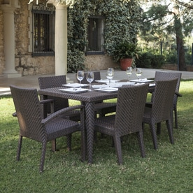 Hospitality Rattan Soho 7 Piece Brown Wood Frame Wicker Patio Dining Set