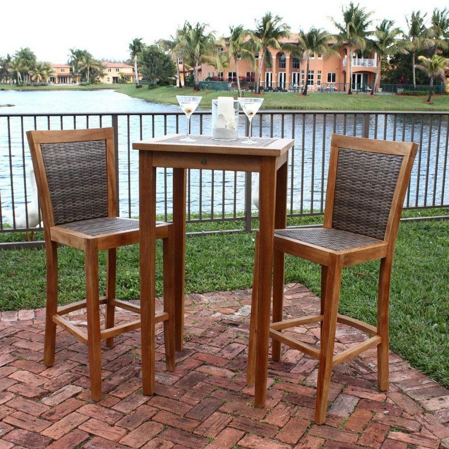 Shop Hospitality Rattan Piece Woven Teak Patio BarHeight Set At - Teak bar height outdoor table