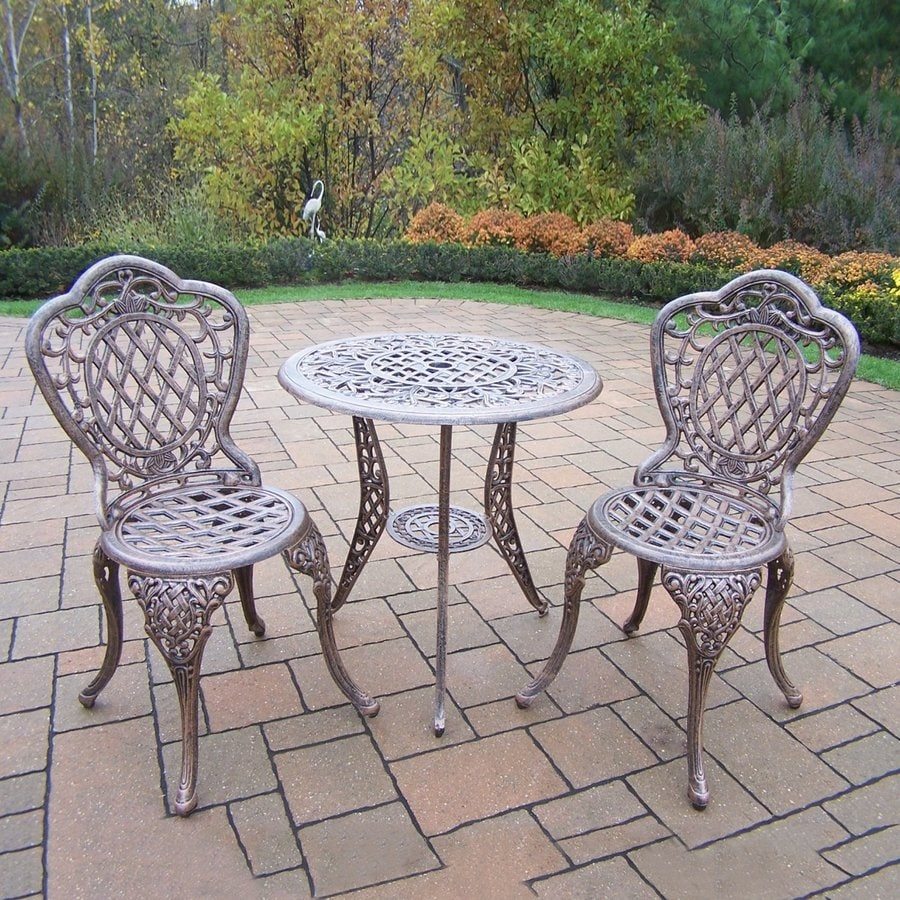 Oakland Living Mississippi 3-Piece Antique Bronze Aluminum Bar Patio Dining Set