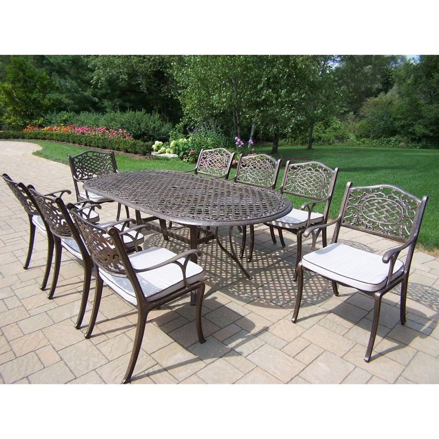 Oakland Living Mississippi 9-Piece Antique Bronze Aluminum Dining Patio Dining Set