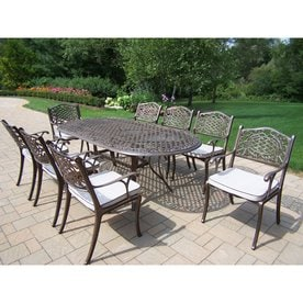 outdoor dining table and chairs narrow oakland living mississippi 9piece bronze metal frame patio dining set with oatmeal cushions shop sets at lowescom