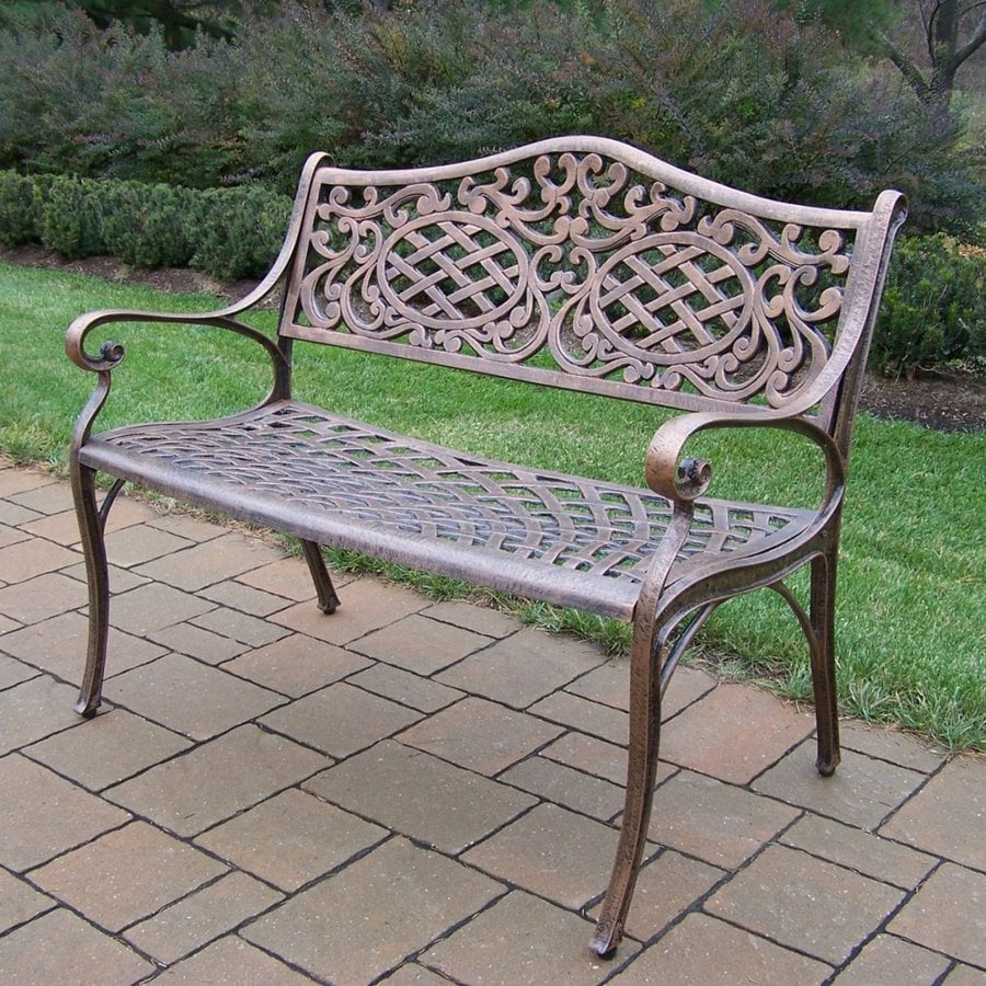 Shop oakland living 35 1 2 in l aluminum patio bench at Aluminum benches