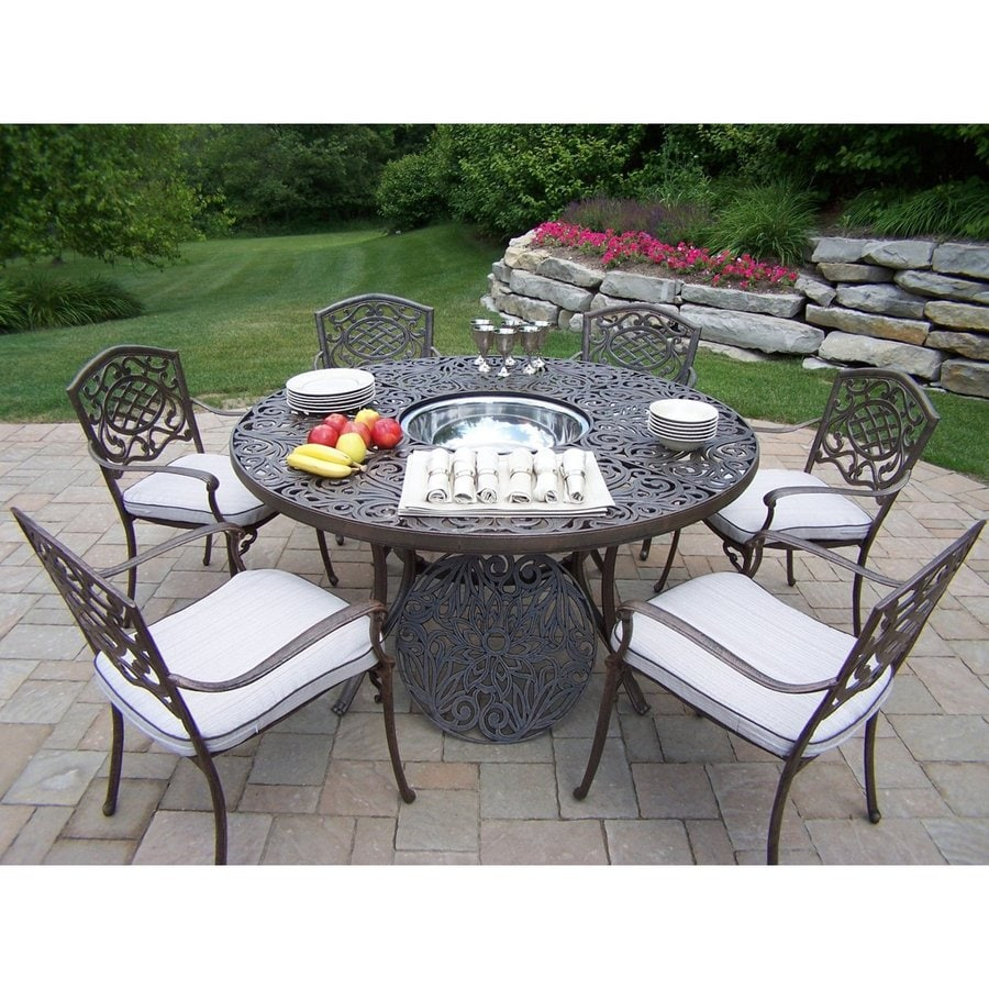 Oakland Living Mississippi 7-Piece Aluminum Dining Patio Dining Set