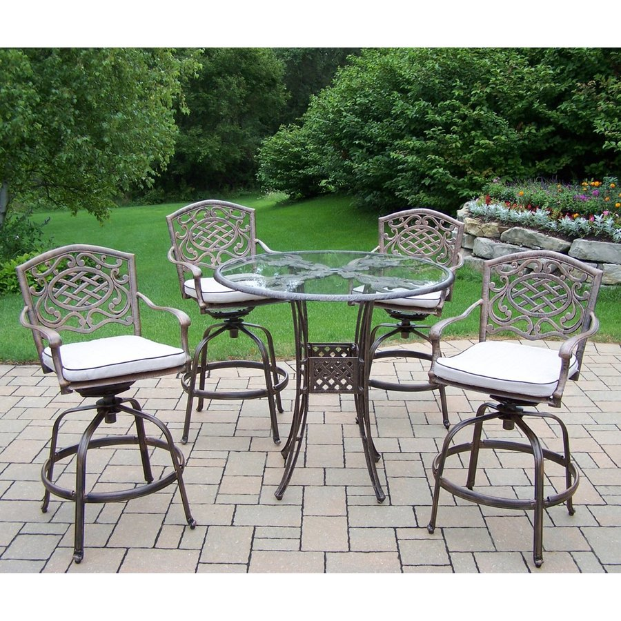 Oakland Living Hummingbird 5-Piece Antique Bronze Glass Bar Patio Dining Set