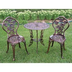 Oakland Living Tea Rose 3 Piece Bronze Metal Frame Bistro Patio Dining Set