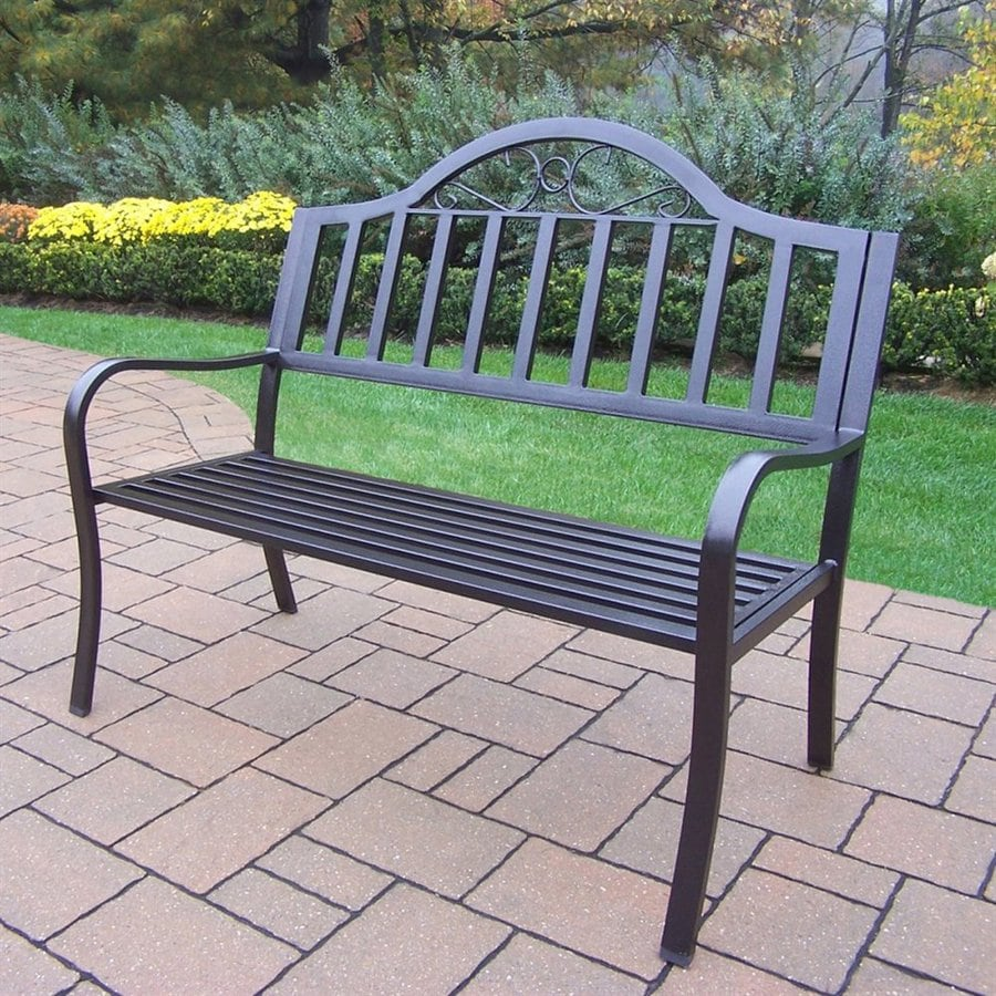 Shop Oakland Living Rochester 24 In W X 50 In L Hammer Tone Bronze Iron Patio Bench At Lowes Com