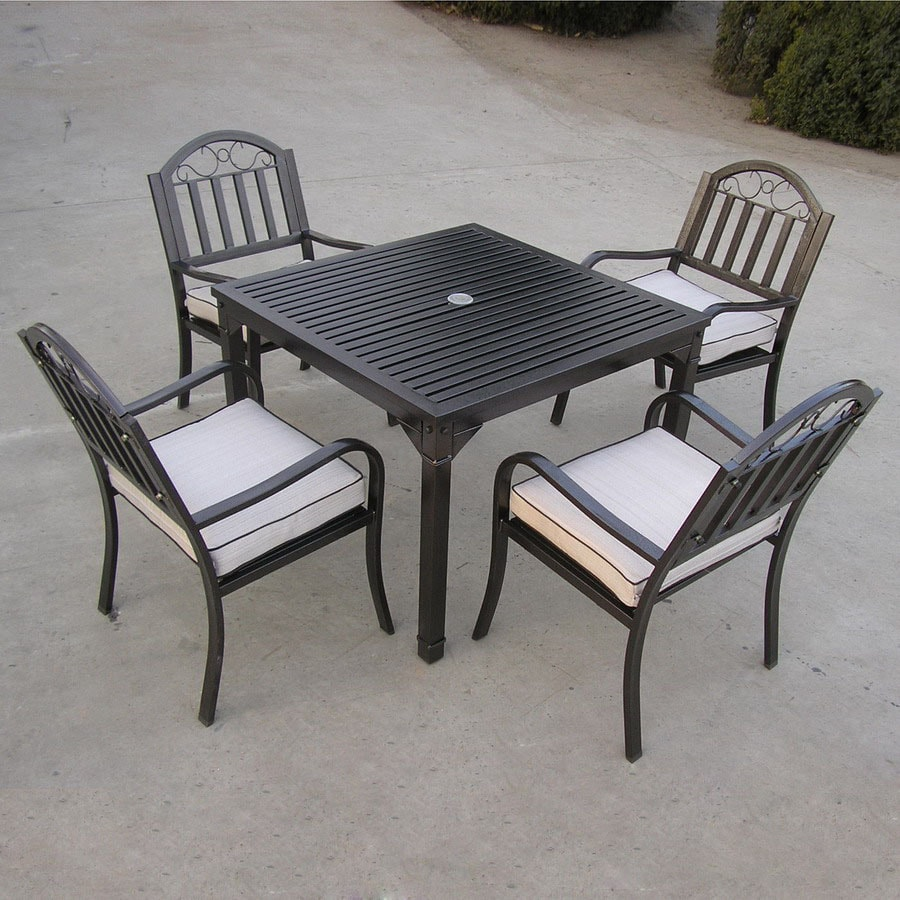 Oakland Living 5 Piece Cushioned Wrought Iron Patio Dining Set