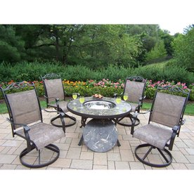 outdoor dining table and chairs small oakland living stone art 5piece black metal frame patio dining set sets at lowescom