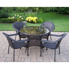 Oakland Living Elite Resin Wicker 5 Piece Brown Wood Frame Patio Dining Set