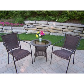 Oakland Living Resin Wicker 3 Piece Brown Wood Frame Wicker Bistro Patio  Dining Set