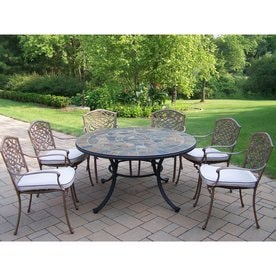outdoor dining table and chairs rustic oakland living stone art 7piece bronze metal frame patio dining set with oatmeal cushions sets at lowescom