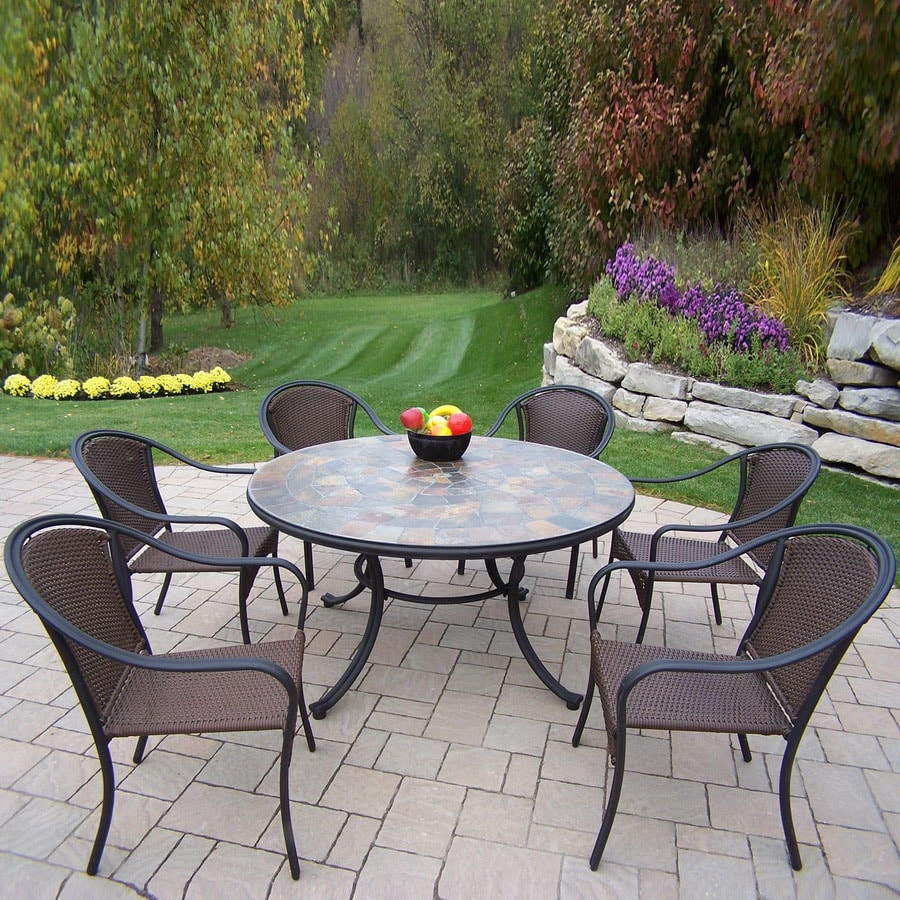 Superb Oakland Living 7 Piece Woven Wrought Iron Patio Dining Set