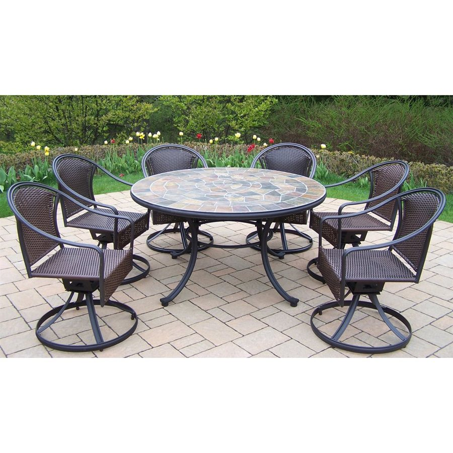 oakland living stone art 7 piece stone patio dining set at