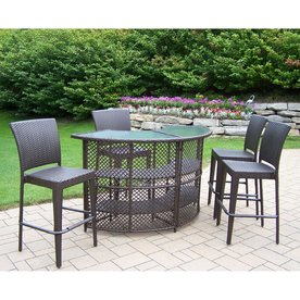 Oakland Living Elite Resin Wicker 5 Piece Brown Wood Frame Wicker Patio  Dining Set