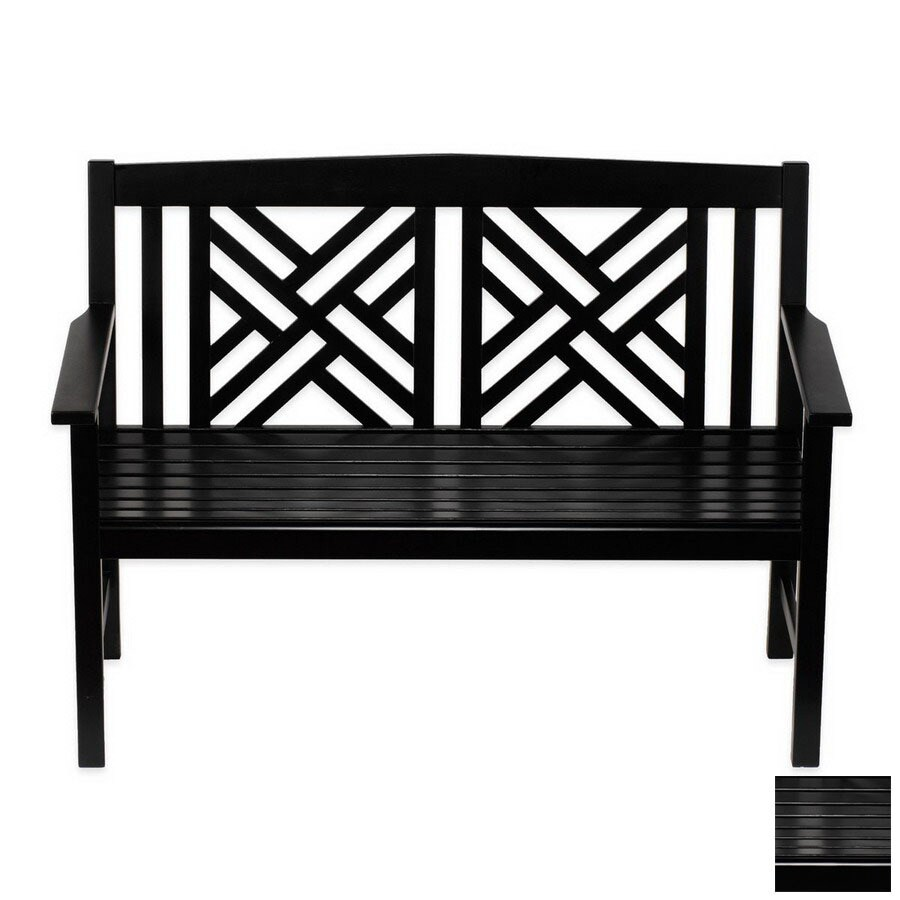 ACHLA Designs Fretwork 20-in W x 48-in L Black Lacquer Eucalyptus Patio Bench