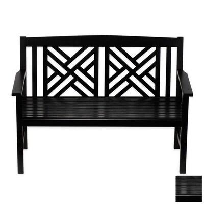 Fabulous Fretwork 20 In W X 48 In L Black Lacquer Eucalyptus Patio Bench Creativecarmelina Interior Chair Design Creativecarmelinacom